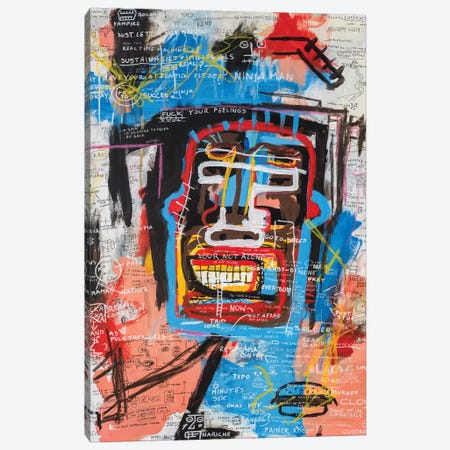 Ninja Face Canvas Print #PPP16} by Diego Tirigall Canvas Wall Art
