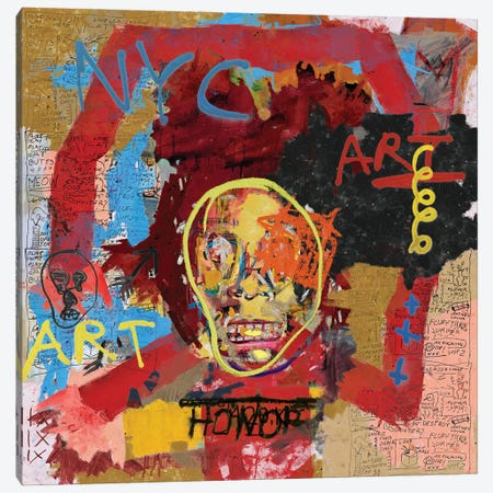 Basquiat The One Canvas Print #PPP64} by PinkPankPunk Art Print