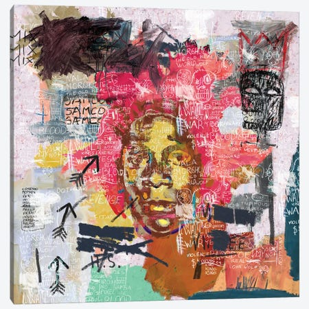 Jean-Michel Basquiat Portrait Canvas Print #PPP65} by PinkPankPunk Art Print