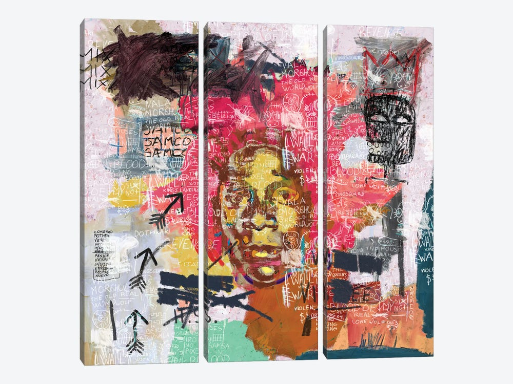 Jean-Michel Basquiat Portrait by PinkPankPunk 3-piece Canvas Wall Art