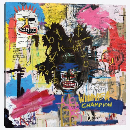 Portrait of Basquiat Canvas Print #PPP67} by PinkPankPunk Canvas Print