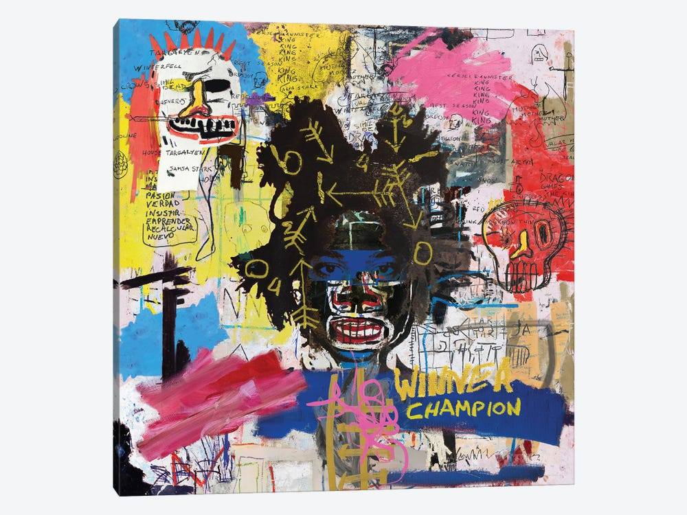 Portrait of Basquiat by PinkPankPunk 1-piece Canvas Wall Art