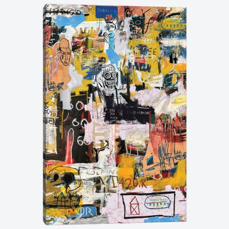 Basquiat World Canvas Print #PPP6} by PinkPankPunk Canvas Artwork