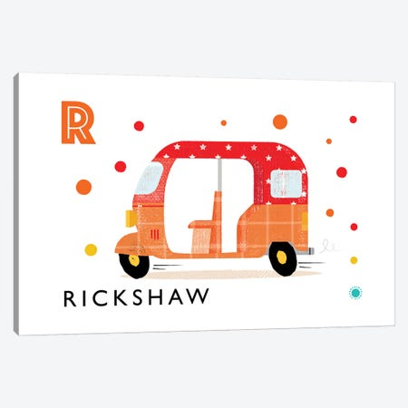 R Is For Rickshaw Canvas Print #PPX102} by PaperPaintPixels Canvas Print