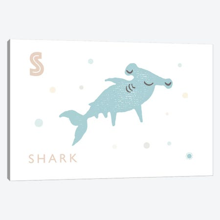 Shark Canvas Print #PPX104} by PaperPaintPixels Canvas Art