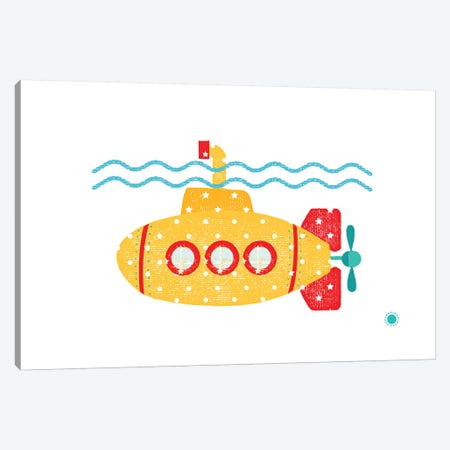Submarine Canvas Print #PPX105} by PaperPaintPixels Canvas Wall Art