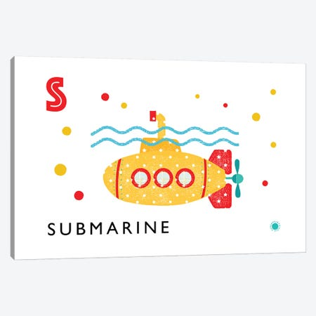 S Is For Submarine Canvas Print #PPX106} by PaperPaintPixels Canvas Art