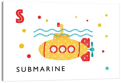 S Is For Submarine Canvas Art Print