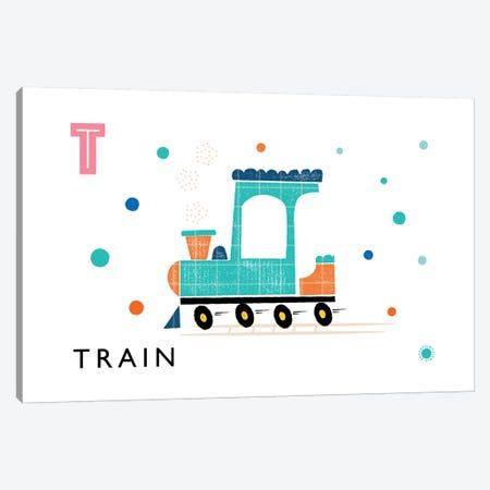 T Is For Train Canvas Print #PPX111} by PaperPaintPixels Canvas Artwork