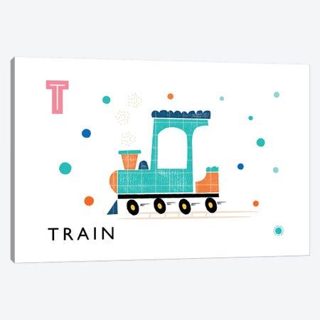 T Is For Train Canvas Print #PPX111} by PaperPaintPixels Canvas Artwork