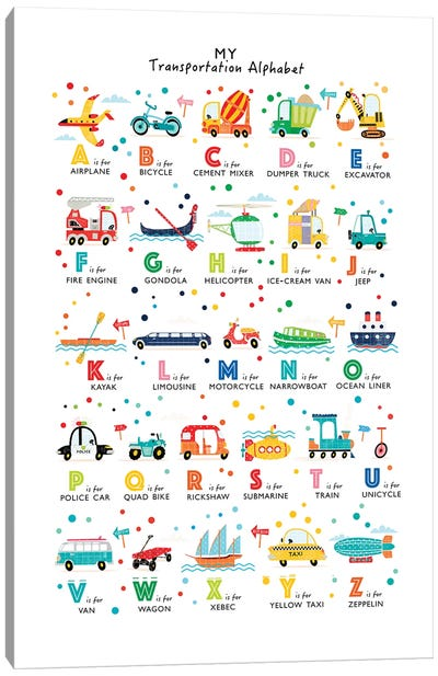 Transportation Alphabet Canvas Art Print