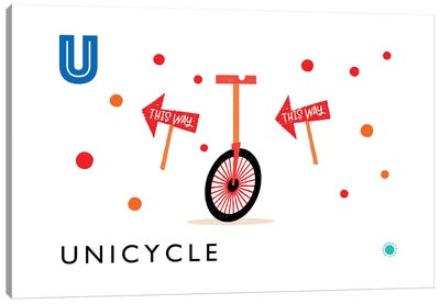U Is For Unicycle Canvas Art Print