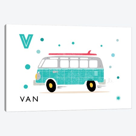V Is For Van Canvas Print #PPX119} by PaperPaintPixels Canvas Art