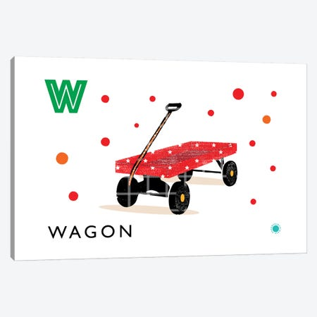 W Is For Wagon Canvas Print #PPX122} by PaperPaintPixels Art Print