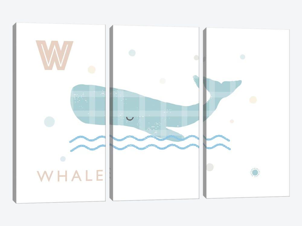 Whale by PaperPaintPixels 3-piece Canvas Art Print