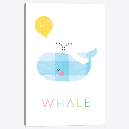 W Is For Whale Canvas Print #PPX124} by PaperPaintPixels Canvas Art