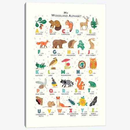 Woodland Alphabet Canvas Print #PPX125} by PaperPaintPixels Canvas Wall Art