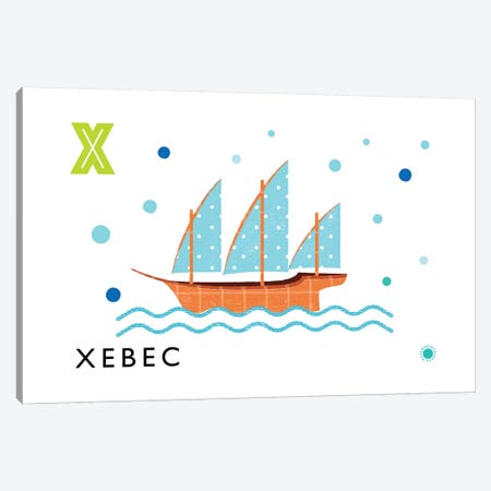 X Is For Xebec Canvas Print #PPX128} by PaperPaintPixels Canvas Art Print