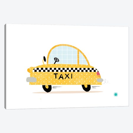 Yellow Taxi Canvas Print #PPX131} by PaperPaintPixels Canvas Artwork