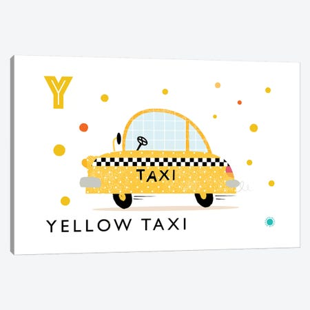Y Is For Yellow Taxi Canvas Print #PPX132} by PaperPaintPixels Canvas Art