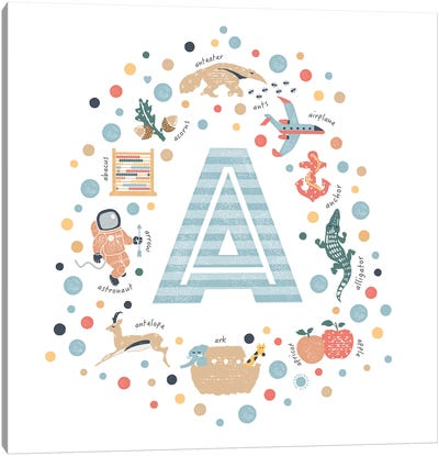 Illustrated Letter A Blue Canvas Art Print
