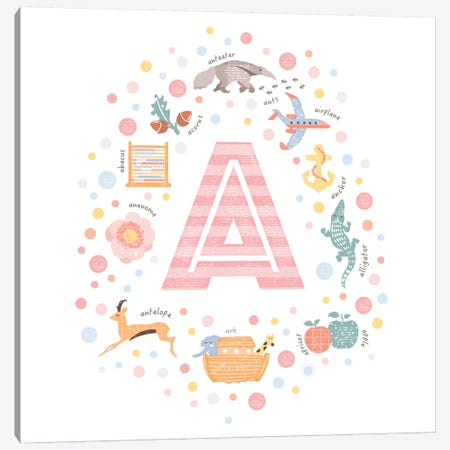 Illustrated Letter A Pink Canvas Print #PPX137} by PaperPaintPixels Canvas Art Print