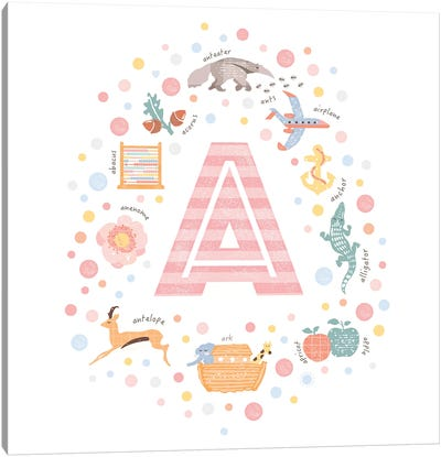Illustrated Letter A Pink Canvas Art Print