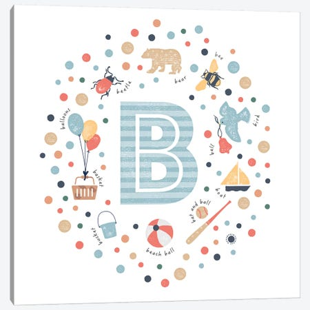 Illustrated Letter B Blue Canvas Print #PPX138} by PaperPaintPixels Canvas Wall Art