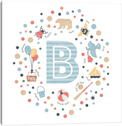 Illustrated Letter B Blue Canvas Art Print