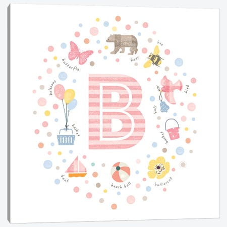 Illustrated Letter B Pink Canvas Print #PPX139} by PaperPaintPixels Canvas Wall Art
