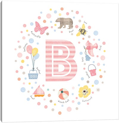 Illustrated Letter B Pink Canvas Art Print