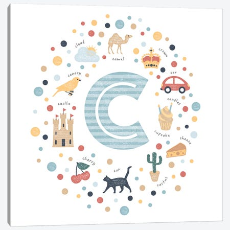 Illustrated Letter C Blue Canvas Print #PPX140} by PaperPaintPixels Art Print