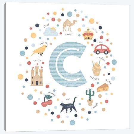 Illustrated Letter C Blue Canvas Print #PPX140} by PaperPaintPixels Art Print
