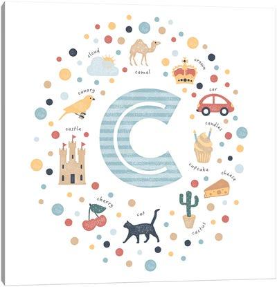 Illustrated Letter C Blue Canvas Art Print
