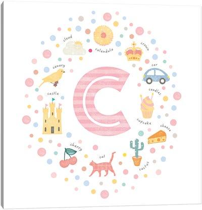 Illustrated Letter C Pink Canvas Art Print
