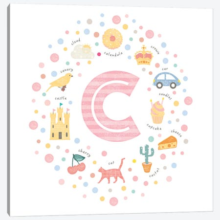 Illustrated Letter C Pink Canvas Print #PPX141} by PaperPaintPixels Canvas Art Print