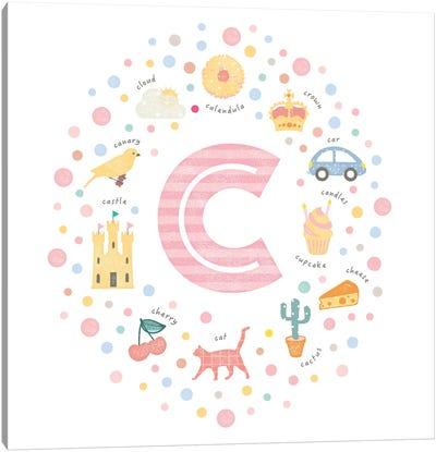 Illustrated Letter C Pink Canvas Art Print