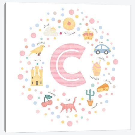Illustrated Letter C Pink 3-Piece Canvas #PPX141} by PaperPaintPixels Canvas Art Print