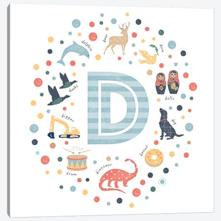Illustrated Letter D Blue Canvas Print #PPX142} by PaperPaintPixels Canvas Art Print