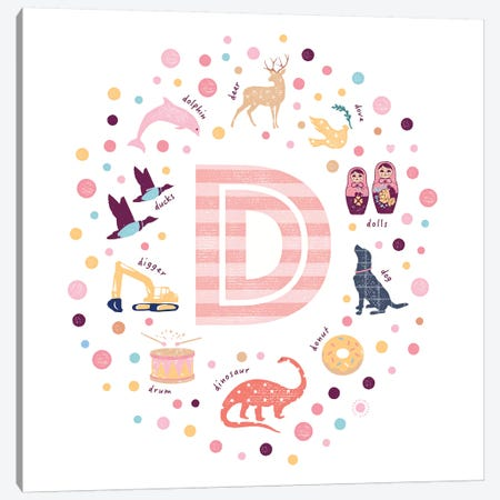 Illustrated Letter D Pink Canvas Print #PPX143} by PaperPaintPixels Canvas Print