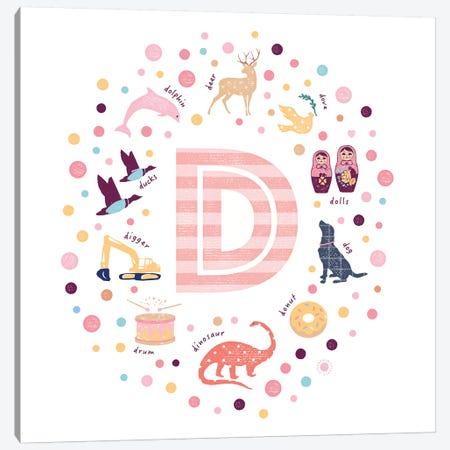 Illustrated Letter D Pink Canvas Print #PPX143} by PaperPaintPixels Canvas Print