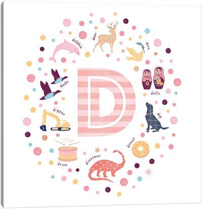 Illustrated Letter D Pink Canvas Art Print