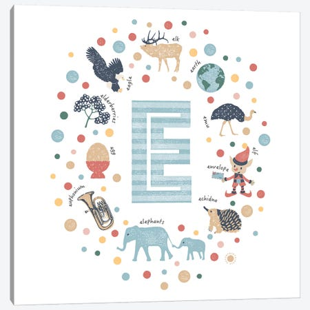 Illustrated Letter E Blue Canvas Print #PPX144} by PaperPaintPixels Canvas Artwork