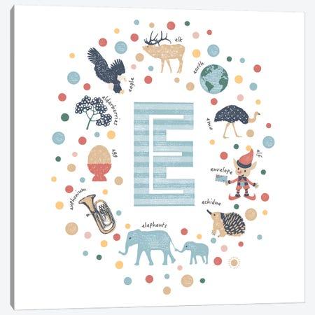 Illustrated Letter E Blue Canvas Print #PPX144} by PaperPaintPixels Canvas Artwork