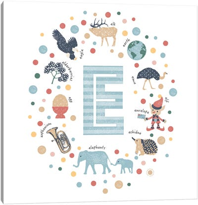 Illustrated Letter E Blue Canvas Art Print