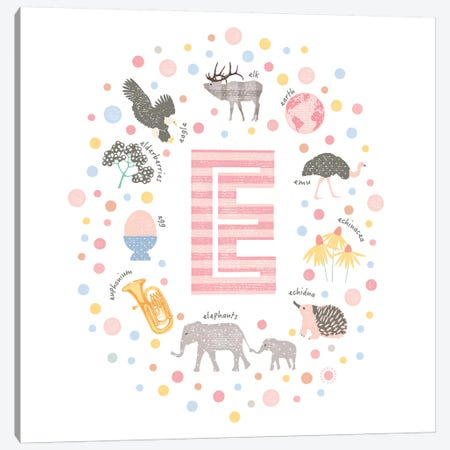 Illustrated Letter E Pink Canvas Print #PPX145} by PaperPaintPixels Canvas Artwork