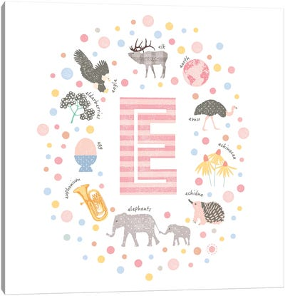 Illustrated Letter E Pink Canvas Art Print