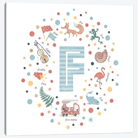 Illustrated Letter F Blue Canvas Print #PPX146} by PaperPaintPixels Canvas Wall Art