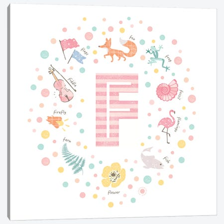 Illustrated Letter F Pink Canvas Print #PPX147} by PaperPaintPixels Canvas Artwork