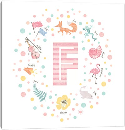 Illustrated Letter F Pink Canvas Art Print